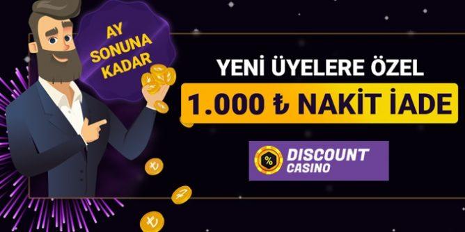 Discountcasino'dan Yeni Üyelere Özel 1.000 TL Nakit İade